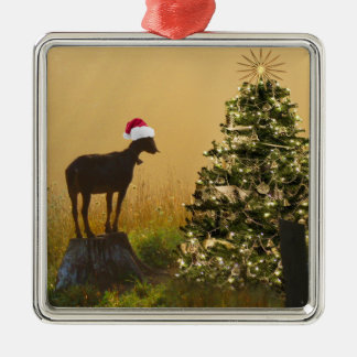 Lone Goat Marvels At Christmas Tree Metal Ornament