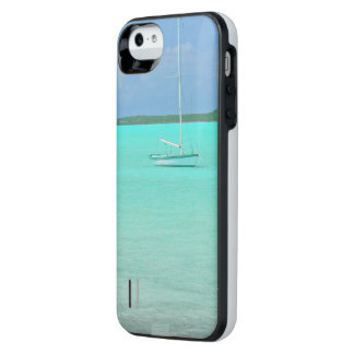 """""""LONE MOORED SAIL BOAT IN PLACID BLUE-GREEN SEA"""" iPhone SE/5/5s BATTERY CASE"""