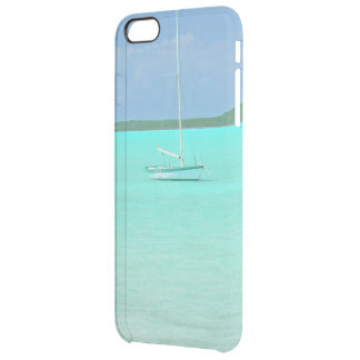 """""""LONE MOORED SAIL BOAT IN SERENE BLUE-GREEN SEA"""" CLEAR iPhone 6 PLUS CASE"""