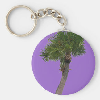 Lone Palm Tree Basic Round Button Key Ring