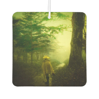 Lone Pilgrim in the Forest Road Mist Vintage Japan Car Air Freshener