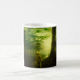 Lone Pilgrim in the Forest Road Mist Vintage Japan Coffee Mug