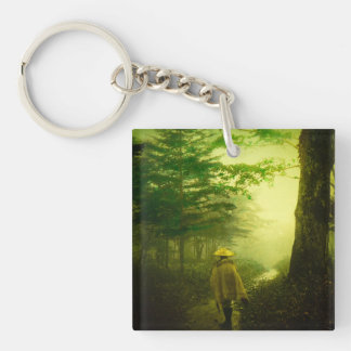 Lone Pilgrim in the Forest Road Mist Vintage Japan Key Ring