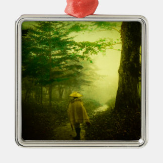 Lone Pilgrim in the Forest Road Mist Vintage Japan Metal Ornament