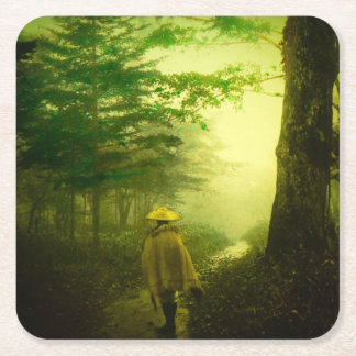 Lone Pilgrim in the Forest Road Mist Vintage Japan Square Paper Coaster