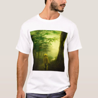 Lone Pilgrim in the Forest Road Mist Vintage Japan T-Shirt