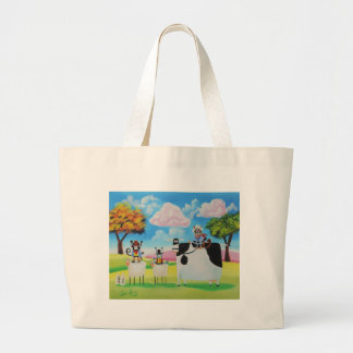 Lone ranger cats and sheep painting large tote bag