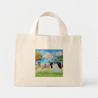 Lone ranger cats and sheep painting mini tote bag
