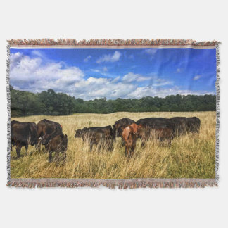 Lone Red Angus Calf Throw Blanket