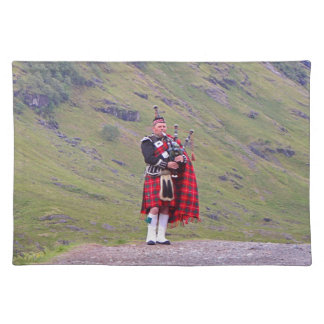 Lone Scottish bagpiper, Highlands, Scotland Placemat