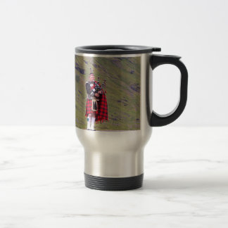 Lone Scottish bagpiper, Highlands, Scotland Travel Mug