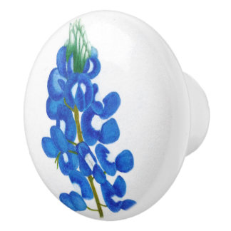 Lone Star Bluebonnet Ceramic Knob