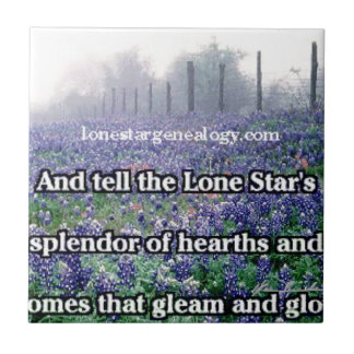 Lone Star Genealogy Poem Bluebonnet Ceramic Tile