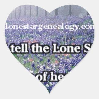 Lone Star Genealogy Poem Bluebonnet Heart Sticker