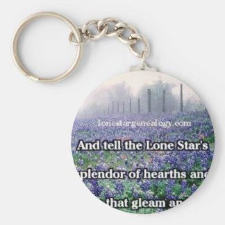 Lone Star Genealogy Poem Bluebonnet Key Ring