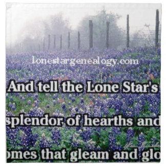 Lone Star Genealogy Poem Bluebonnet Napkin