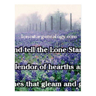 Lone Star Genealogy Poem Bluebonnet Postcard