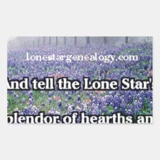 Lone Star Genealogy Poem Bluebonnet Rectangular Sticker