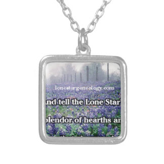 Lone Star Genealogy Poem Bluebonnet Silver Plated Necklace