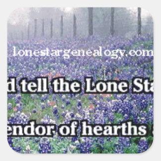 Lone Star Genealogy Poem Bluebonnet Square Sticker