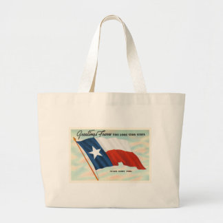 Lone Star State Texas TX Vintage Travel Souvenir Large Tote Bag
