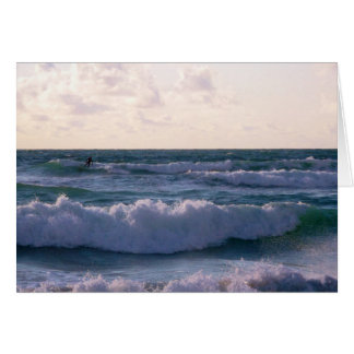 Lone Surfer at Fistral Beach Newquay Cornwall UK Card