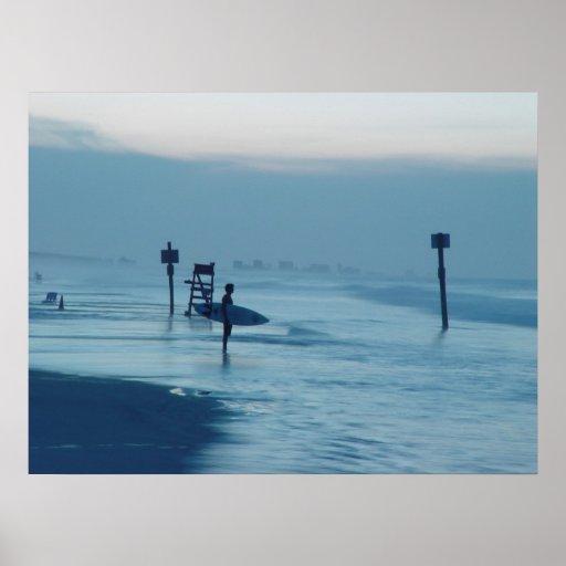 Lone Surfer Dusk Ponce Inlet FL Beach Tide Poster