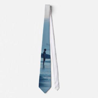 Lone Surfer Dusk Ponce Inlet FL Beach Tide Tie
