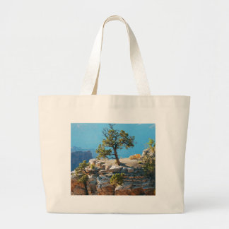 Lone tree in grand canyon large tote bag