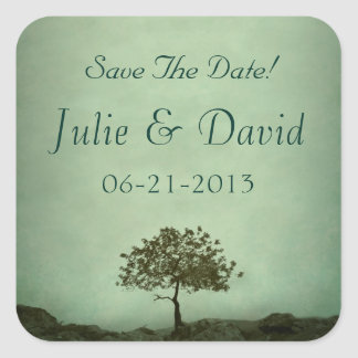 Lone Tree Sea Green Save The Date Wedding Square Stickers