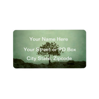 Lone Tree Sea Green Wedding Address Label