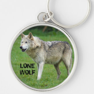 Lone Wolf 1 Silver-Colored Round Key Ring