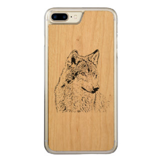 Lone Wolf Carved iPhone 7 Plus Case