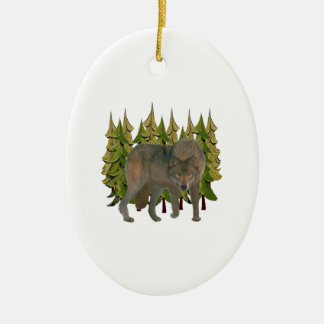 Lone Wolf Ceramic Ornament