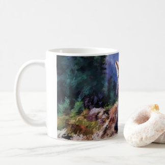 Lone Wolf Nature Landscape Painting Coffee Mug