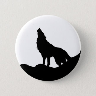 Lone Wolf Standing on a Hill 6 Cm Round Badge