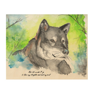 Lone Wolf Watercolor Wood Canvases