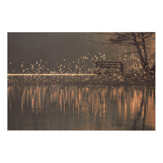 Lonely bench by the lake in the golden light wood print