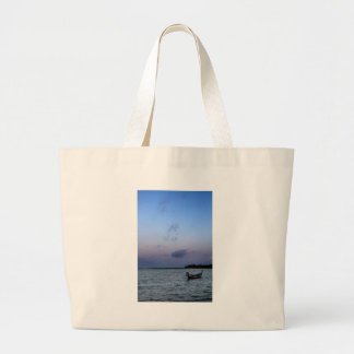 Lonely boat large tote bag