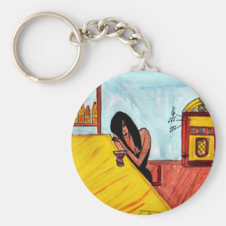 Lonely Brunette Basic Round Button Key Ring