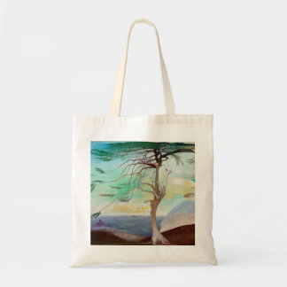 Lonely Cedar Tree Landscape Painting
