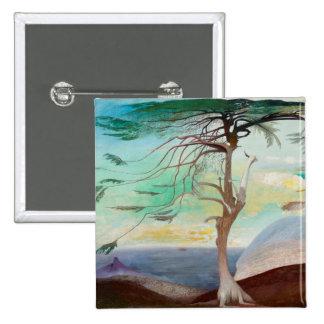 Lonely Cedar Tree Landscape Painting 15 Cm Square Badge