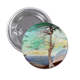 Lonely Cedar Tree Landscape Painting 3 Cm Round Badge