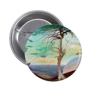 Lonely Cedar Tree Landscape Painting 6 Cm Round Badge