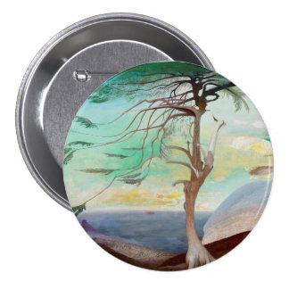 Lonely Cedar Tree Landscape Painting 7.5 Cm Round Badge