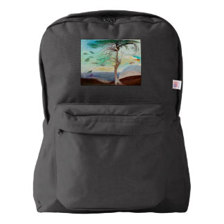 Lonely Cedar Tree Landscape Painting Backpack