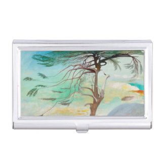 Lonely Cedar Tree Landscape Painting Business Card Holder