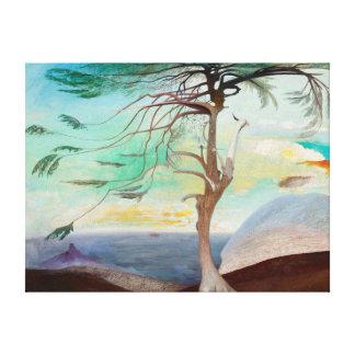 Lonely Cedar Tree Landscape Painting Canvas Print