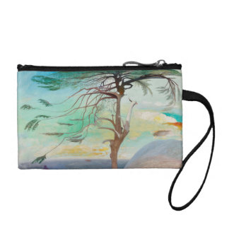 Lonely Cedar Tree Landscape Painting Coin Purse