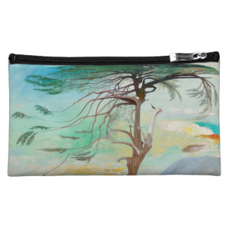 Lonely Cedar Tree Landscape Painting Cosmetic Bag